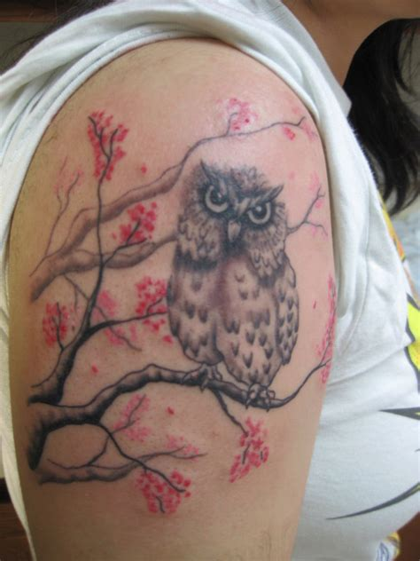 owl shoulder tattoo 52 owl tree tattoos ideas