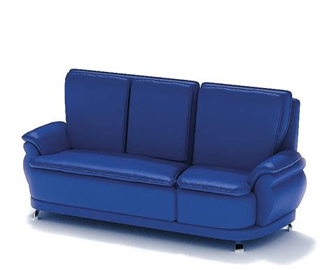 blue leather couch blue leather sofa 3d model cgtrader com