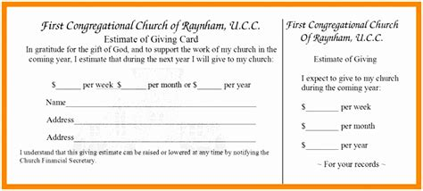 pledge card template word 5 church pledge card template roeca templatesz234