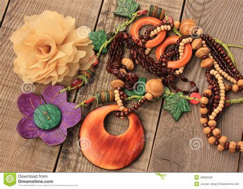 Wood Handcraft - wooden handcraft necklaces stock photo image 42693436