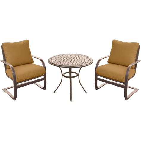 Aluminum Bistro Table And Chairs Hanover 3 Outdoor Bistro Set With Aluminum Chairs And Cast Top Table With