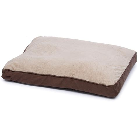 doggy beds brown and tan memory foam rectangular pillow dog bed petco