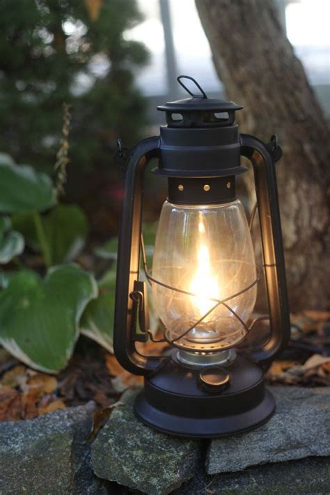 electric hurricane lantern flat black finish table l