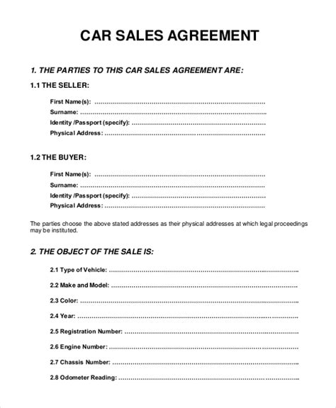 agreement of sale template for a vehicle 10 sle sales agreement forms free sle exle