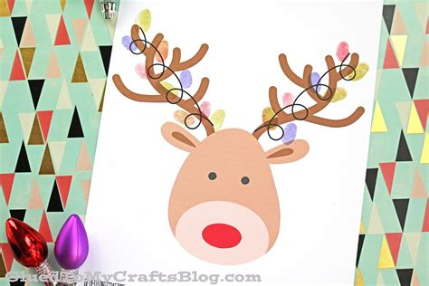 free crafts for thumbprint reindeer free printable glued to