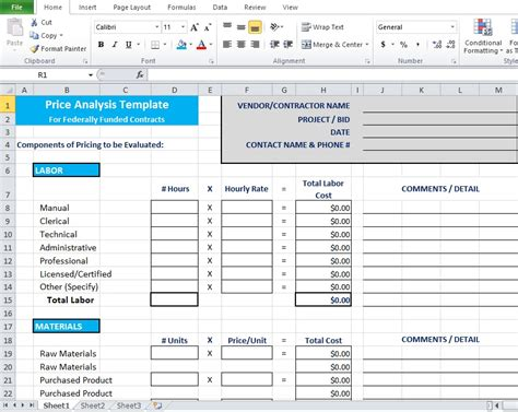 Price Analysis Spreadsheet Template Excel Inzare Inzare Cost Breakdown Template Excel