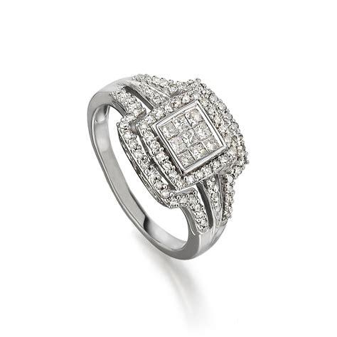 cluster princess cut halo split shank engagement ring