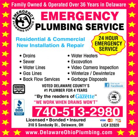 Emergency Plumbing Services by Emergency Plumbing Service Llc Delaware Oh 43015 1925
