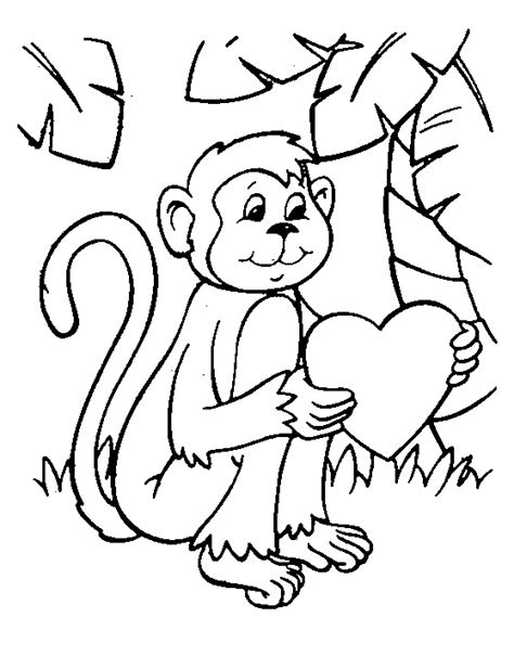 Monkey Valentine Coloring Pages | monkey coloring pages printable