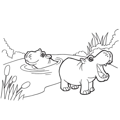 Hippopotamus Coloring Page by Hippos Coloring Page Rainy Day Framing Co