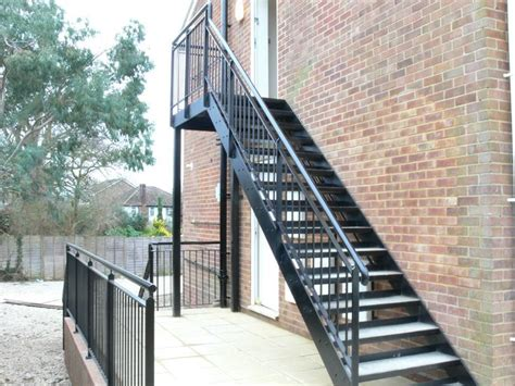 Outdoor Metal Stairs Steel Stairs With A Powder Coated Finish Chequer Plate