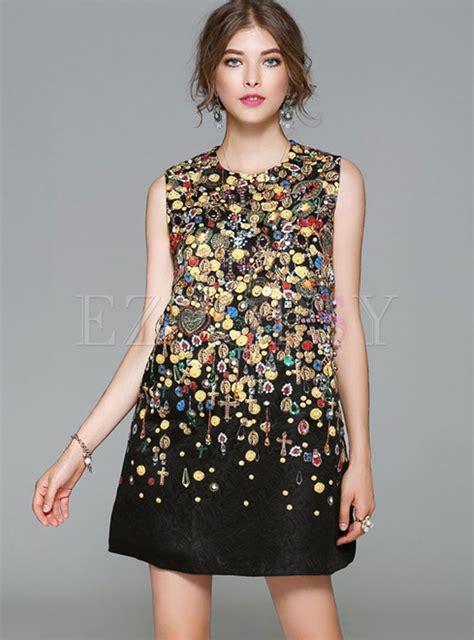 Print Sleeve Shift Dress bead print o neck sleeve shift dress ezpopsy