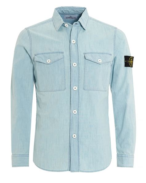 Light Blue Denim Shirt by Island Mens Shirt Light Blue Chambray Denim