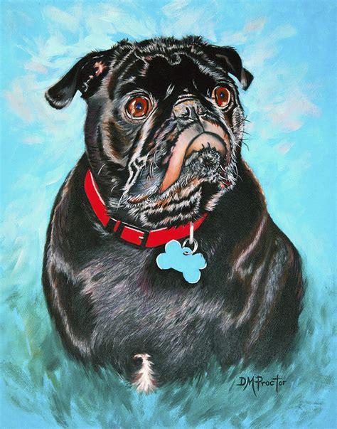 black pug painting smug black pug painting by donna proctor