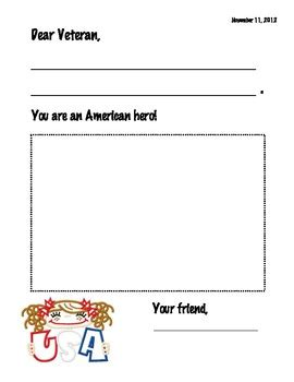 Veteran S Day Card Template by Veteran S Day Card Writing Template By El S Kindergarten Tpt