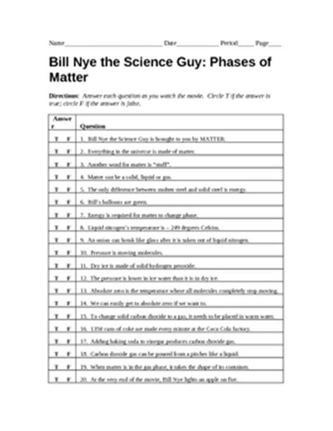 bill nye phases of matter worksheet answers bill nye phases of matter worksheet