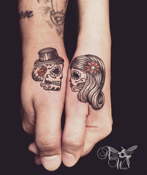 day of the dead couple tattoos sugar skull zoeken