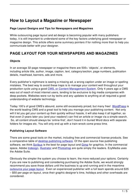 newspaper layout principles how to layout a magazine or newspaper