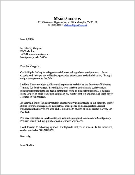 cover letter for director sle cover letter for resume director of sales cover