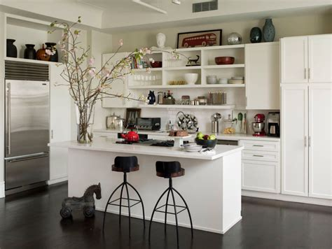open lower kitchen cabinets open shelves as a part of a kitchen interior