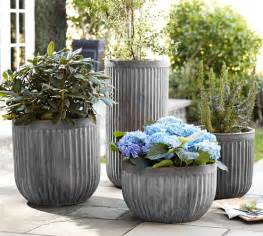 concrete fluted planters pottery barn
