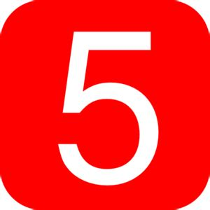 five square imagery red rounded square with number 5 clip art at clker com