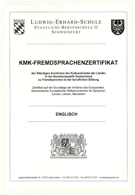 Englisch Zertifikat Bewerbung Englisch