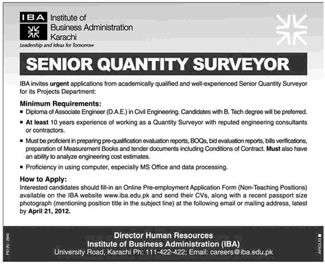 reference book for quantity surveyor iba karachi requires senior quantity surveyor in karachi