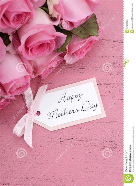 A Day With Pink by Happy Mothers Day Pink Roses Background Stock Photo