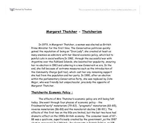 Thatcherism Essay by Margaret Thatcher Thatcherism Gcse Business Studies Marked By Teachers