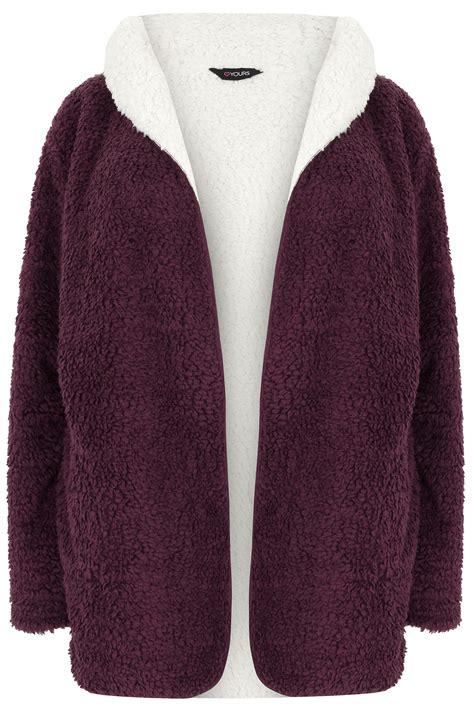 Fleece Coat burgundy reversible fleece coat with plus size 16 to 36