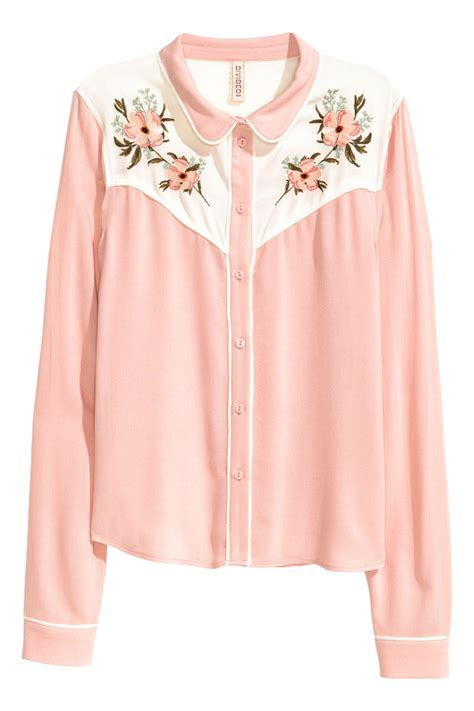 H M Blouse 2 embroidered blouse powder pink sale h m us
