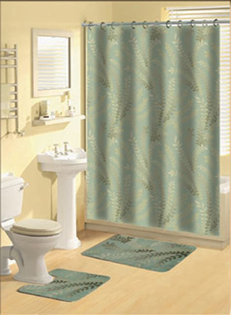 Bathroom Shower Curtain And Rug Sets Home Dynamix Decorators Touch Shower Curtain And Bath Rug Set Ferns Shower Curtain Sets