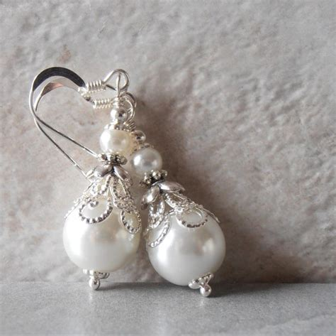 Handcrafted Bridal Jewelry - white pearl earrings pearl bridal earrings beaded wedding