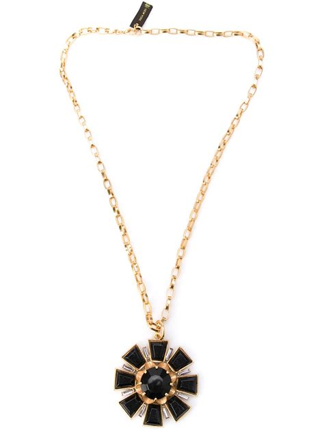 gerard yosca large deco necklace in metallic lyst
