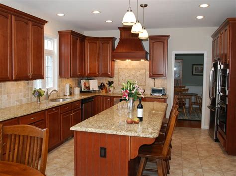 neutral granite countertops hgtv traditional kitchen with stained wood cabinets hgtv