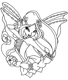 winx club flora harmonix coloring pages