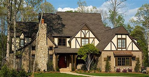 tudor home designs plan w29554nt sloping lot photo gallery tudor corner