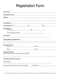 Printable Vbs Registration Form Template Conference Pinterest Registration Form C Registration Form Template