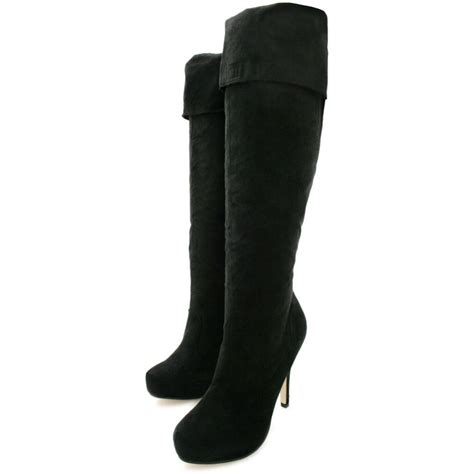 buy harley stiletto heel platform knee boots black