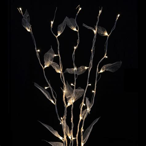 100cm 5pc Natural Twig Festive Decoration With Leaves 50 Twig Lights