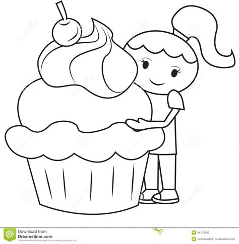 large cupcake coloring page the girl and the big cupcake coloring page stock