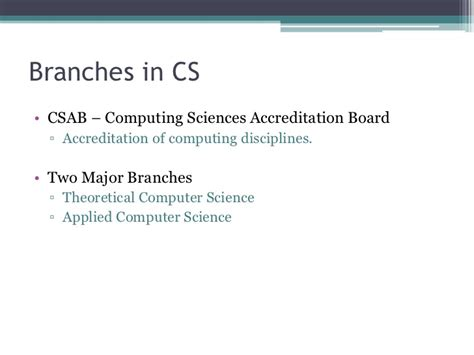 Mba Branch For Computer Science by Fields In Computer Science
