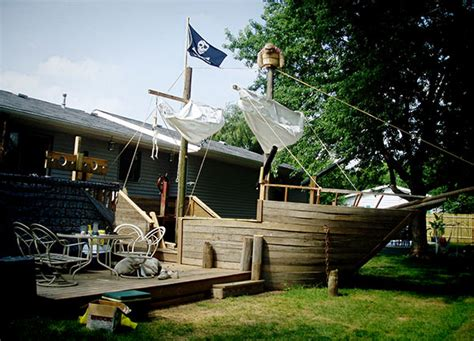 backyard pirate ship dude transforms deck into pirate ship