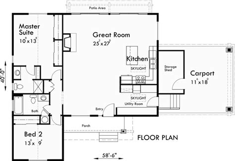 carport floor plans house plan large great room kitchen with 5 ft eating bar