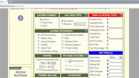 ebay paypal fee calculator how to use ebay and paypal fee calculator youtube