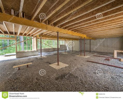 basement floor joists basement construction under a new house stock image