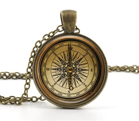 Compass Necklace vintage compass pendant necklace fashioned antique