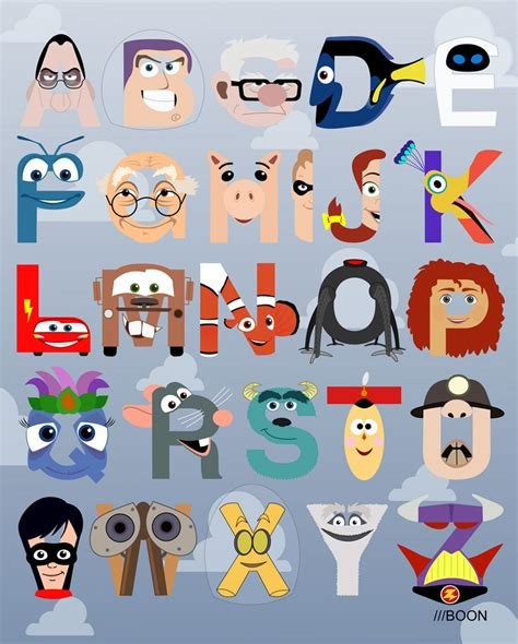 Disney Character Letter N The House Of Coxhead Style Mike Boon Pixar Alphabet