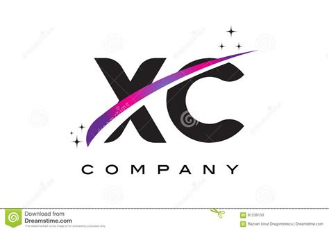 Xc Business Letter xc x c black letter logo design with purple magenta swoosh